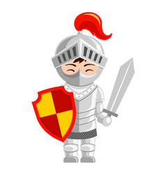 cartoon knight cute little kid in costume vector image