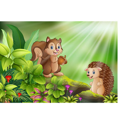 cartoon of nature scene with squirrel and hedgehog vector image