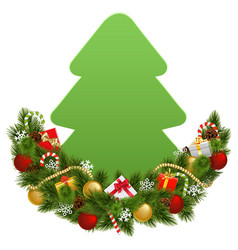 Christmas decoration with paper fir tree vector