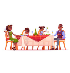 christmas dinner happy family sit at festive table vector image
