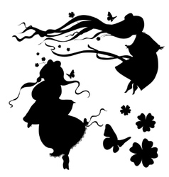 Collections silhouettes a fairy vector