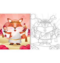 Coloring book for kids with a cute fox angel vector