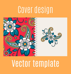 cover design with floral indian pattern vector image vector image