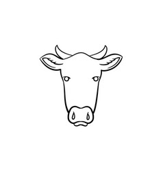 Cow head hand drawn sketch icon vector