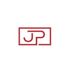 Creative initial letter jp square logo design vector