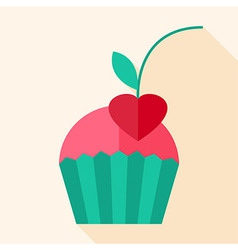 Cupcake with cherry vector