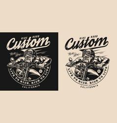 Custom motorcycle vintage monochrome print vector