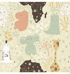 Cute cartoon seamless pattern with wild animals vector