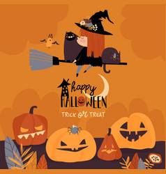 cute halloween redheaded witch flying on broom vector image