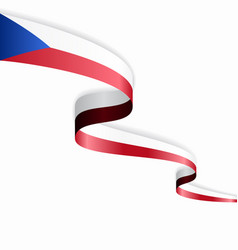 czech flag wavy abstract background vector image