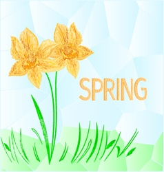 Daffodil polygons mosaic spring background vector