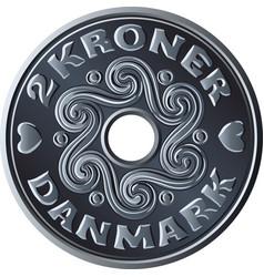 Danish two crone coin vector