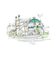 digital minimalistic sketch drawing opera and vector image