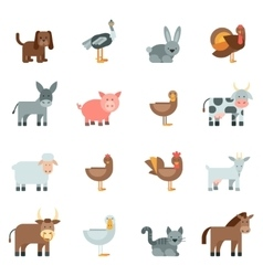 Domestic Animal Flat Icons Set vector