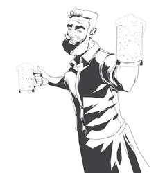 Drawing of barman silhouette vector
