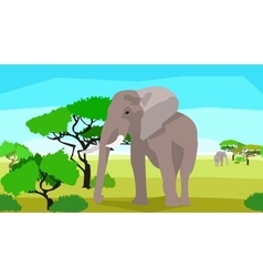 Elephant in a field with trees seamless animals vector image
