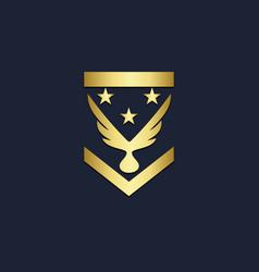 emblem wing bird gold logo vector image