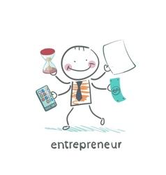 Entrepreneur holding a calculator money hourglass vector