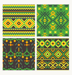 ethnic tribal seamless patterns set vector image