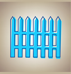 Fence simple sign sky blue icon with vector