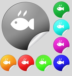 Fish dish icon sign set of eight multi colored vector