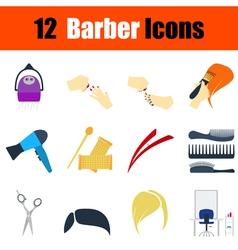 Flat design barber icon set vector image