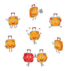 Flat travel bag suitcase character set vector