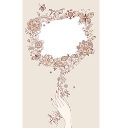 Floral blank sign vector