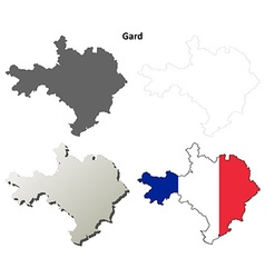 Gard Languedoc-Roussillon outline map set vector