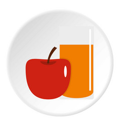glass of juice with red apple icon circle vector image