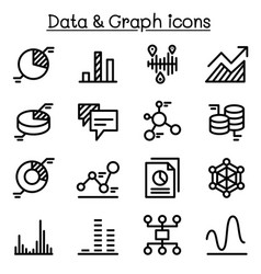 Graph diagram data icon set vector
