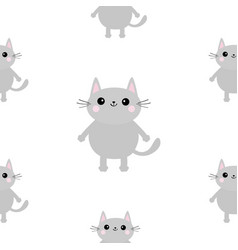 gray cat head hands with paw print cute cartoon vector image