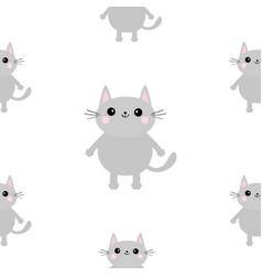 Gray cat head hands with paw print cute cartoon vector