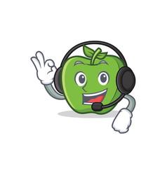 Green apple character cartoon with headphone vector