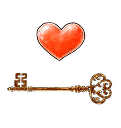 hand drawn red heart and vintage key design vector image