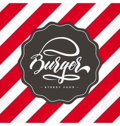Hand lettering burger food logo design vector