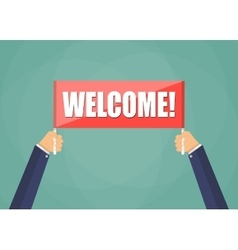 hands holding plate with word Welcome vector image