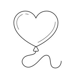 heart balloon line icon vector image