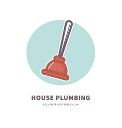 House plumbing service advertisement logo with vector