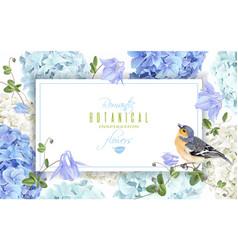 Hydrangea bird banner blue vector