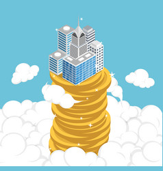 isometric business building on stack coin vector image
