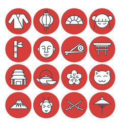 Japan set in line style vector