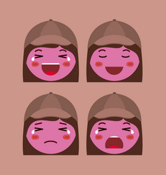 little red girls emoticon set kawaii characters vector image