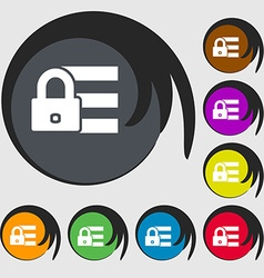 Lock login icon sign Symbols on eight colored vector