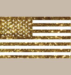 luxury golden glitter united states country flag vector image