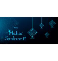 Makar sankranti greeting card with blue polygonal vector
