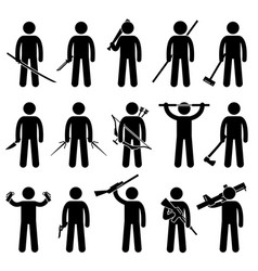 Man holding and using weapons stick figure vector
