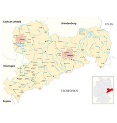 map free state saxony germany vector image