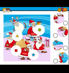 Match pieces puzzle with santa characters vector
