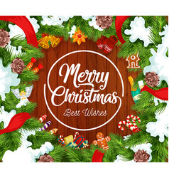 merry christmas postcard with fir branches in snow vector image